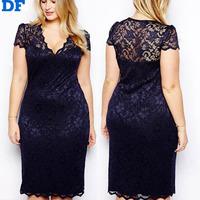 Vestidos Para Festa 2015 Vestidos De Festa Plus Size Women Summer Casual Dress V-Neck Short Sleeve Hollow Lace Dresses Promotion