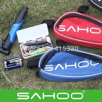 SAHOO Bike Repair Tool Bag Mini Pump Folding Tool 15 in 1 Bicycle Tyre Repair With Pouch Multifunctional Tools Set Kit