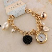 New arrival Ladies Flower Bracelet Quartz Wristwatch Fashion Pearl Tower Pendant watch Rhinestone women dress watches
