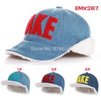 5pcs/lot Children Winter Hats 3 colors !!! Letter Take Denim Velvet Ear Hats Unisex Boys And Girls Warm Winter Bomber Hats