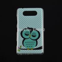 For Nokia Lumia 820 Case,Cartoon Cute Shy Owl Bird Soft TPU Case Protective Cover cellphone case