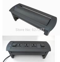 Electric Flip up rotating tabletop socket for advanced furniture black color