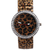 Free Shipping Hot Sell  Personality Simple Leopard Pattern Style Metal Spring Band Wrist Watch