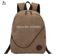 Women Men Canvas Multi-Pocket Classic Cotton Backpack Book Bag Khaki Rucksack Travel Military