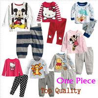 RETAIL! popular pijimas children's pajamas set kids clothing set hello kitty mickey minie winnie pyjamas baby toddlers christmas