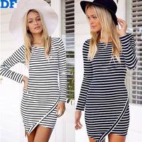 2014 New Women Winter Dress Long Sleeve Black White Stripes Irregular Bandage Dresses Plus Size Slim Mini Dress Women Vestidos