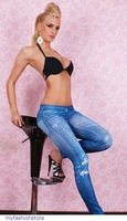 Fashion Women & Girl pants adventure time Fitness Sexy Blue Gray Jeans Look Print Leggings punk LC7865 Free Shipping