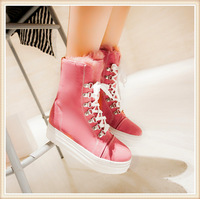 2014  women  casual winter boots warm  boots  white black beige pink   PU leather  platform height school fashion women boots