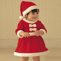 Children Christmas Celebration Party Girls Suit Red Santa Costume Children Cute Dress CH004