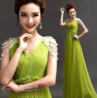 Elegent fashion hosted catwalk Soft gauze dress V-neck long evening Party dress Bleading shoulder