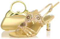 2014 High quality Gold fashion wedding shoes ,2.5 inch Italian shoes and bags set to match free shipping,SB542-12