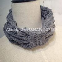 12pcs/lot Fashion Winter Style Wool Braided Warm Elastic Headband Handcrafted crochet headband D81098 free shipping (black grey)
