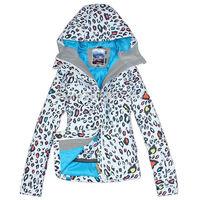 2014 Gsou Snow womens leopard ski jacket zebra snowboarding jacket ladies waterproof breathable white snow parka skiwear anorak