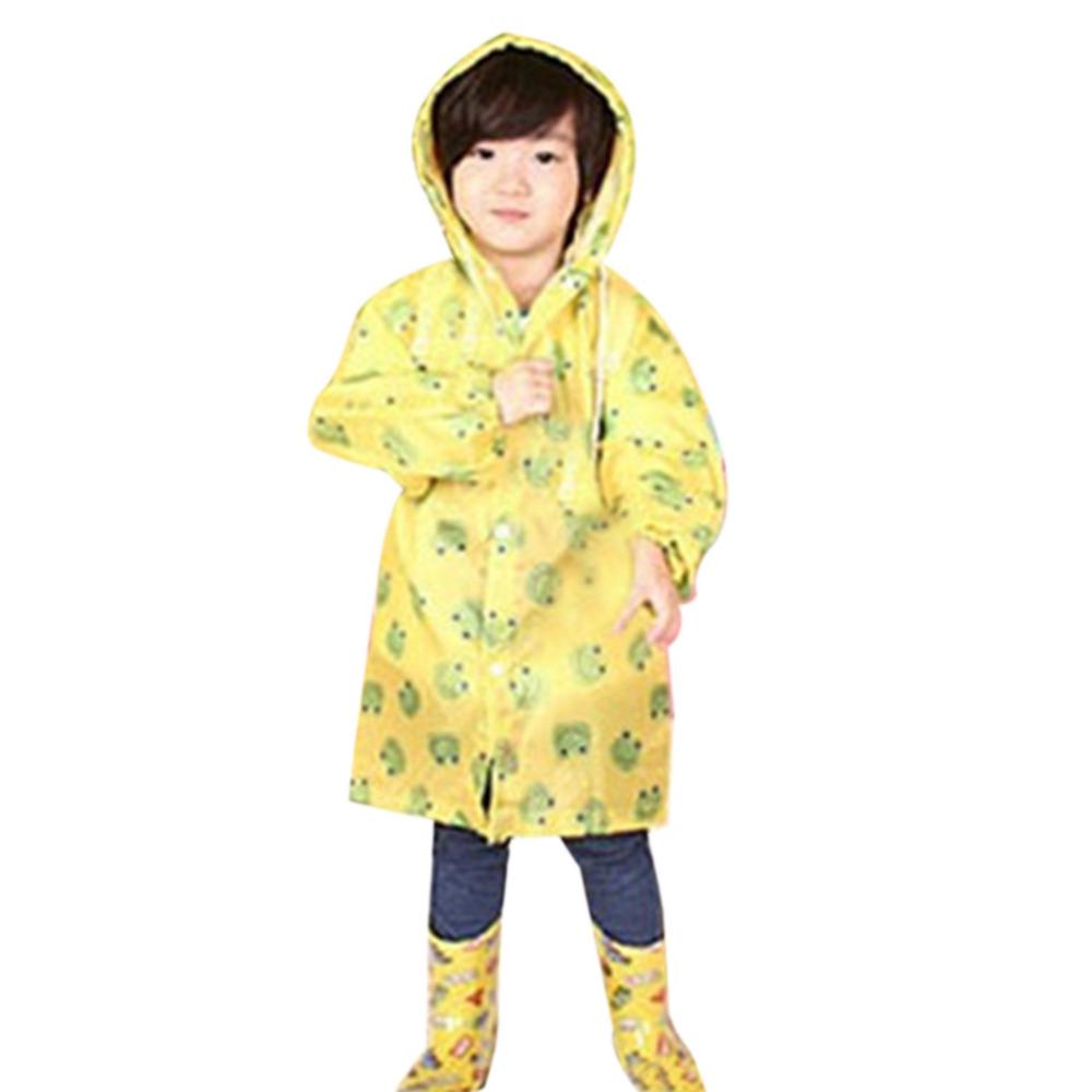 Yellow/ Red Size L Girls Kids Rain Coat Children Raincoat Rainwear Rainsuit Kids Waterproof Free Shipping(China (Mainland))