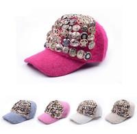Hot Sale Women Fashion Rabbit Fur Visors Fall winter Female Handmade Rivet  Button Baseball Hats