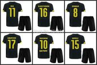 14 15 Borussia Dortmund JERSEY soccer reus sahin hofmann hummels Away Black football Shirt&Shorts Uniforms