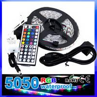 8pcs/lot 5M waterproof Flexible RGB 5050 LED Strip Light SMD 300 LED +44 Key IR remote Controller+5A power adapter
