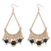 Ethnic Design !Vintage Exaggerated Teardrop Beads Resin Gold Arc Pendant India Bohemian Earrings Charm Jewelry 2014 Women PD21