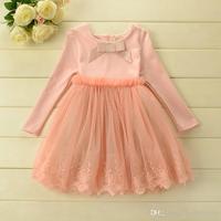 Latest Autumn sweet princess dress children Bow lace tulle tutu dress kids wear long sleeve party dress  A4725