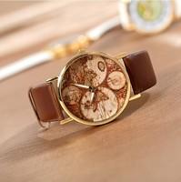 Wholesale 100pcs/lot Unisex quartz Map printing picture alloy women rose gold dial dress watch men analog leather wristwatches