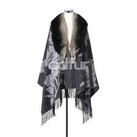 Fashion Autumn Winter Poncho Shawl Natural Fox Fur Collar with Tassles Lady Wraps Soft Scarf QD27906