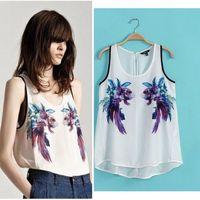 fashion women za ra 2014 blusas femininas 3D goldfish print chiffon blouse vest tops fitness blouses shirt women clothes W00249