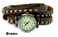 500pcs/lot Hot sale trendy bracelet retro watch leather special wristwatch good quality