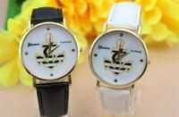 Top Quality 100pcs/lot 8 colors Leather GENEVA Wristwatch For Ladies Women Dress Watch Quartz Watches Free Shipping