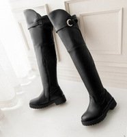 Women autumn round toe buckle strap round toe over-the-knee chunky boots  black brown size 40 free shipping