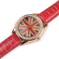 Hot selling 80pcs/lot Quartz Dress women Watch UK Flag Imitation Diamond Shinning Crystal wristwatches Top Quality
