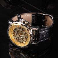 Top Quality 100pcs/lot Silver/Gold/Black/blue Dail Skeleton Dial Men Women Mechanical Wrist Watch -Lucky Gifts Wholesale