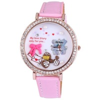 Hot sale 100pcs/lot Gogoey full diamond rond  bowknot rose gold plated pu leather quartz big wristwatches good quality