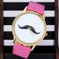Hot 400/lot Popular Wristwatch Mustache Beard Watch Silver Bezel Dress lady Vintage Moustache Watch Free Shipping