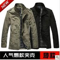Free shipping men's jacket casual sports jacket thin high quality brand jacket M-XXL Color Black Khaki