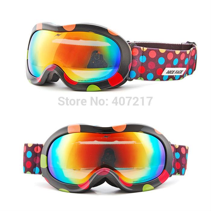 Children Anti-Fog anti-UV bilayer lens polarization ski goggles kids Snowboard Goggles can put near-sighted eyewear inside black(China (Mainland))