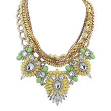 Statement Necklaces 2015 New Design Female Multicolor Resin Rhinestone Necklaces Multi layer Chain Pendants luxury jewelry