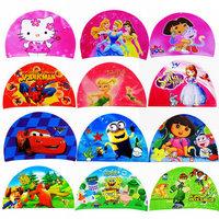 A Lot 12 pcs New Kids Children Lycra Swimming Cap Boys Girls Digital Printing Cute Cartoon Diving Hats Free Shipping