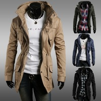 Free shipping the men's double high collar fashion leisure pure color jackets coat of high quality, size M - XXL