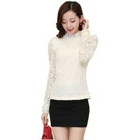 Elegant Appearance Autumn Turtleneck Hollow Out Women Shirt Korean Plus Size Slim Long Sleeve Lace Blouses 9060