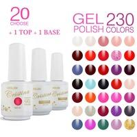 (Choose 20 Colors+1 top +1 base coat ) Cristina 230 Colors UV Nail Gel Polish Set Temperature Change Luminous Color Gel Varnish