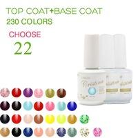 (Choose 22 Color+Base Top Coat)Cristina Professional 230 Colors Temperature Change Luminous Color Uv Nail Gel Polish Varnish Set