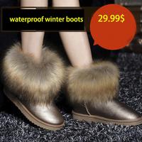 Hot 2014 Winter Boots Fox Head Decration Waterproof Boots Warm Snowboots Mid Leg Winter Shoes Size 35-39