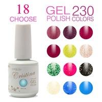 (Choose 18 Colors)Cristina 230 Colors For Led Uv Soak Nail Gel Polish Glitter Temperature Change Luminous Color Set