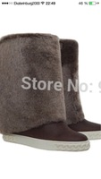 Hot fold over genuine leather wedge boots with fur winter high/tall boots