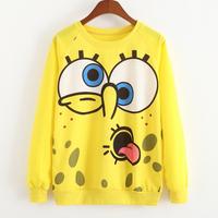 New 2015 Fashion women/men Hoodies 3d sweatshirts top high quality Big eyes round mouth printing Hoodies Sweatshirts