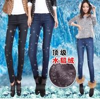 Free shipping warm thickening skinny jeans women elegant fashion denim pencil pants for winter