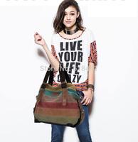 women stripes hit color patchwork fashion canvas bag lady Messenger bag handbag shoulder bag