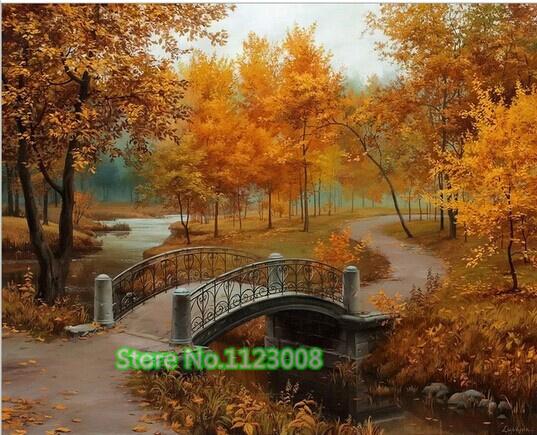 Autumn Bridge Painting Autumn Bridge Diy Diamond