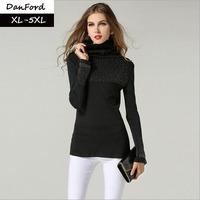 2014 New Women Plus Size Black Full Sleeve Sweater XL-5XL  DFM-001