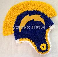 Fun Adult Football Helmet Style Beanies with Mohawk, Crochet Hat, Skullcap